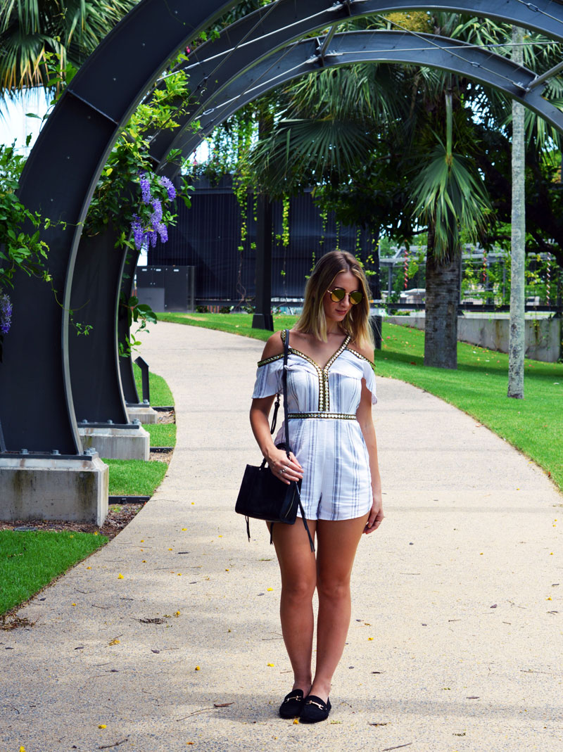 stripe playsuit with gold boho details