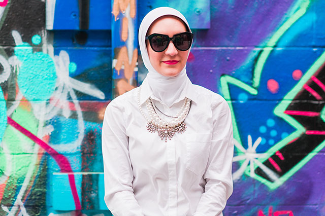 Baublebar Pearl Bennet Bib Necklace and Karen Walker Sunglasses