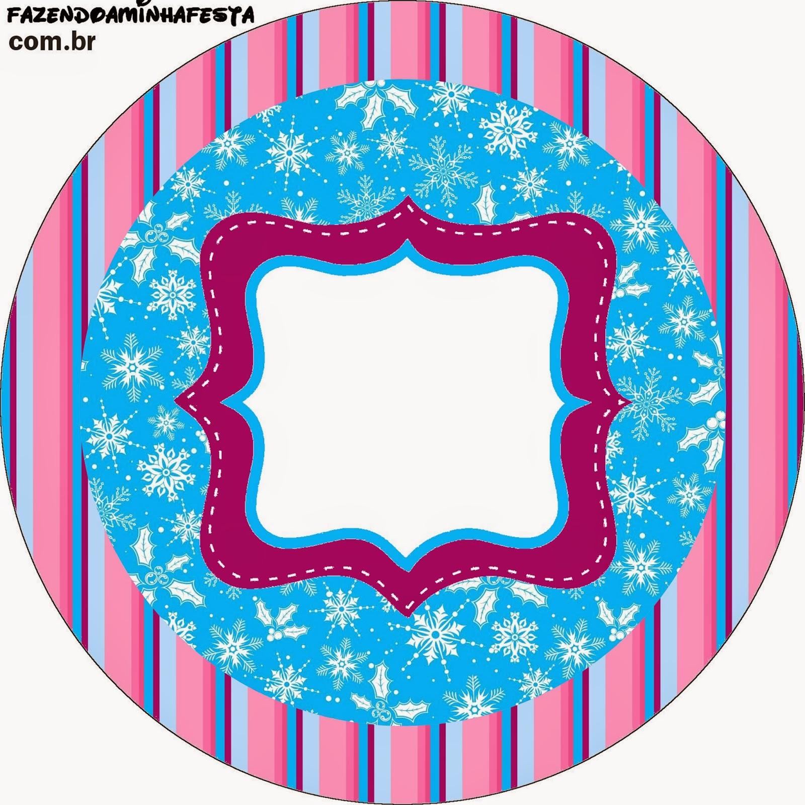 Toppers o etiquetas de Frozen en Morado y Celeste para Navidad para imprimir gratis.