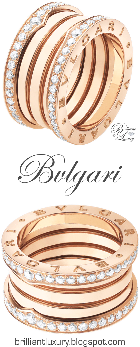 Brilliant Luxury ♦ Bvlgari B.Zero1 4-band 18 kt pink gold ring with pavé diamonds along the edge