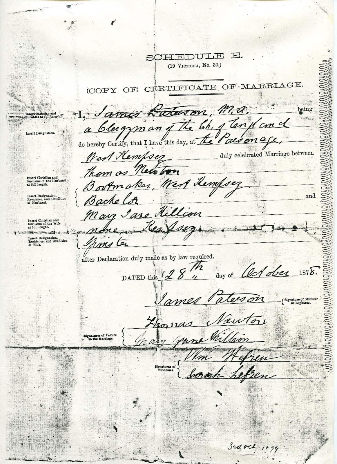 The killion quinn and hand families of port macquarie and kempsey copy of 1878 marriage certificate mary jane killion and thomas newton xflitez Gallery