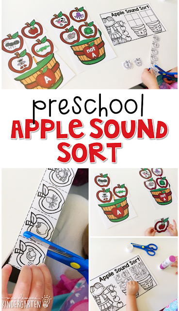 This apple sound sort is fun for letter sounds and fine motor practice with an apple theme. Great for tot school, preschool, or even kindergarten!