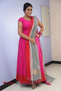 Actress Poorna Pictures in Red Salwar Kameez at Jayammu Nischayammu Raa Teaser Launch  0243
