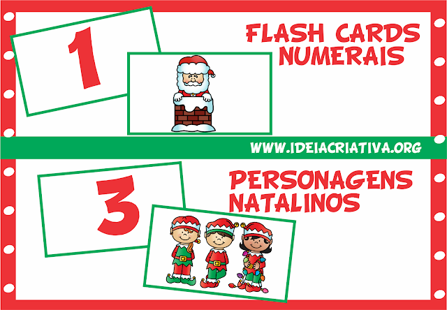 Flash Cards Numerais com Personagens Natalinos