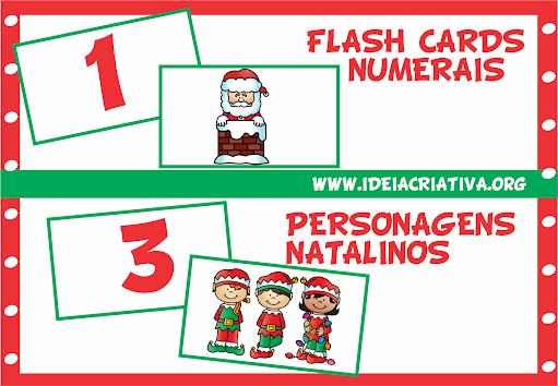 Flash Cards Numerais com Personagens Natalinos