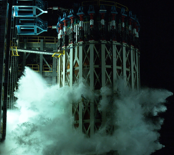 Water gushes out of the structural article for the Space Launch System's liquid oxygen fuel tank after it is successfully tested to failure at NASA's Marshall Space Flight Center in Alabama...on June 24, 2020.