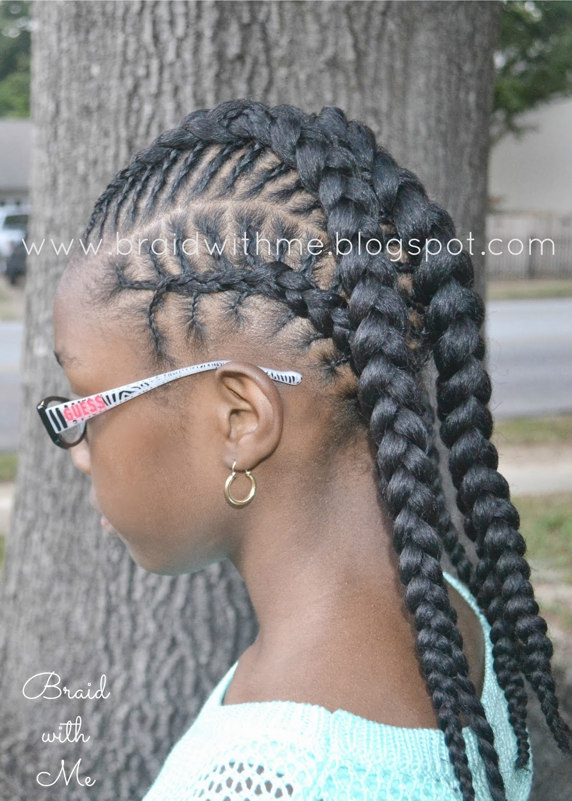 Natural Hairstyle For Kids Fish Bone Cornrows Twist