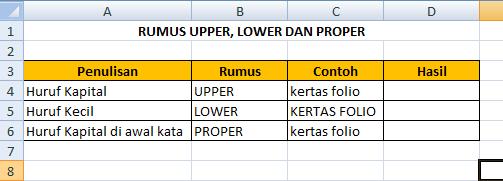 Cara Merubah Huruf Besar, Huruf Kecil dan Huruf Besar di Awal Kata dengan Rumus di Microsoft Excel