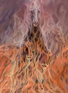 Pintura de caballo en fuego