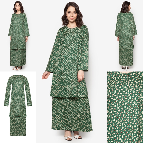 Baju Kurung Cotton Warna Emerald Green Maroon - Baju Raya 2016