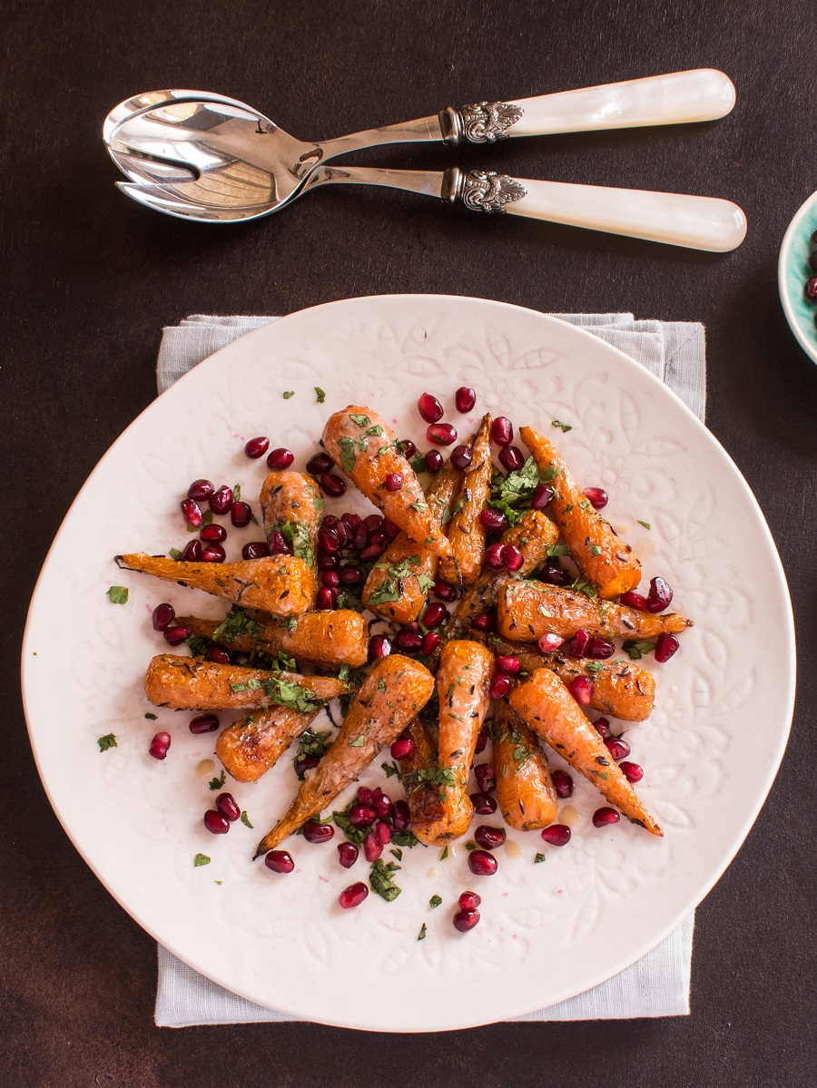 Roasted Chantenay Carrots With Tahini And Pomegranate