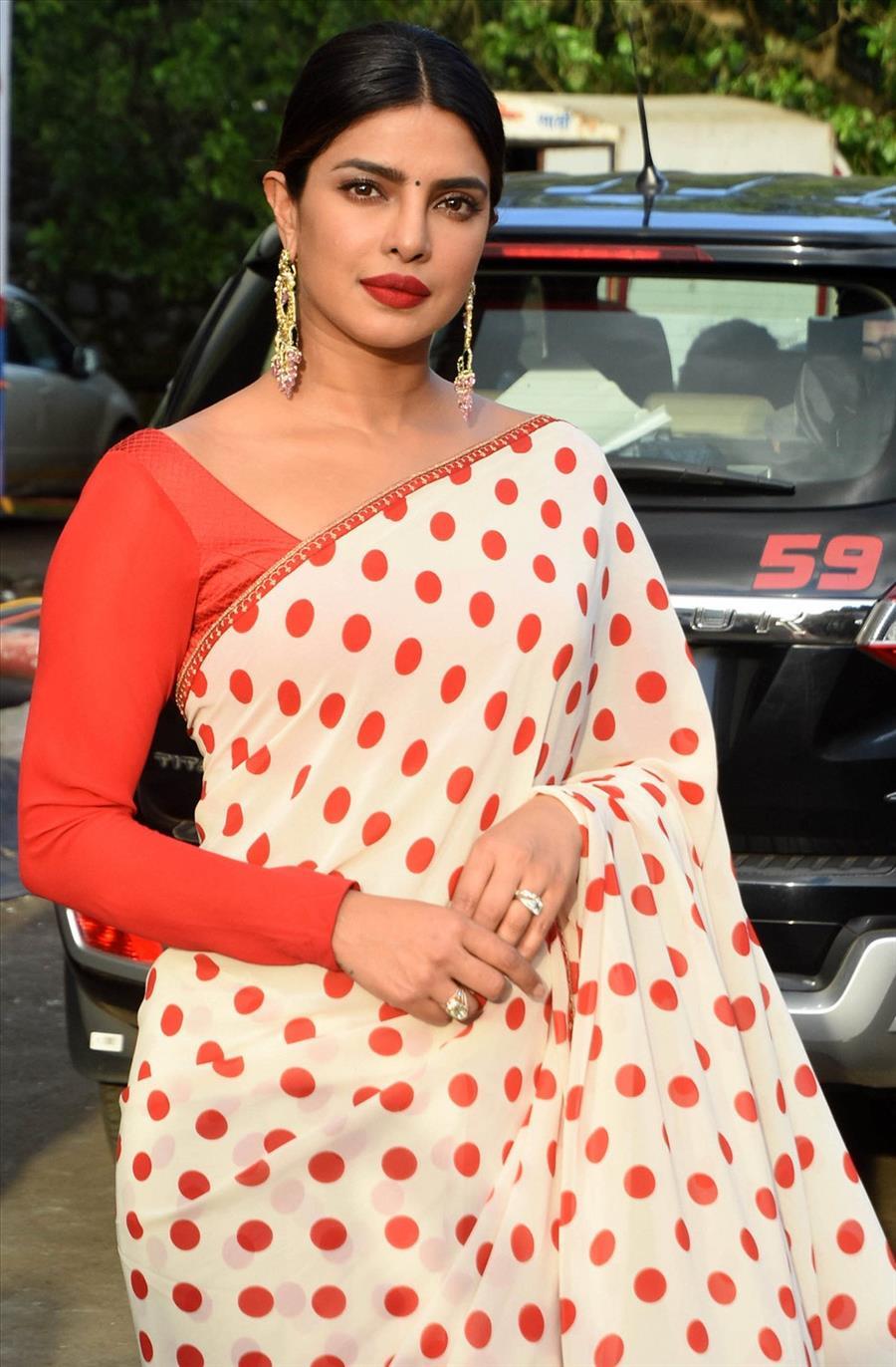Indian Model Priyanka Chopra In Traditional Red Saree