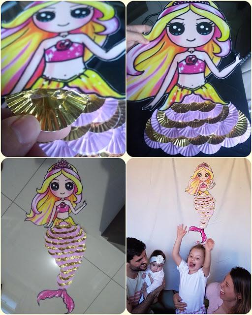 sereia de papel, sereia criativa, sereia com forminha de doce