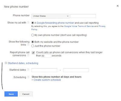Đặt lịch hiển thị số điện thọai lài  một bước nâng cao google adwods