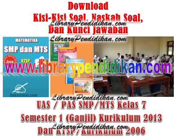 Download Kisi-Kisi Soal, Naskah Soal dan Kunci Jawaban UAS / PAS SMP/MTS Kelas 7 Semester 1 (Ganjil) Kurikulum 2013 Dan KTSP/Kurikulum 2006
