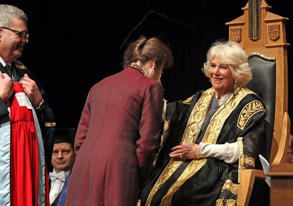 The Duchess of Cornwall presented The Princess Royal with an Honorary Degree in recognition of her contribution to public life