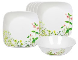 7-pc Corelle Provence Garden Set (Includes 6 Dinner Plates & 1 Serving Bowl)