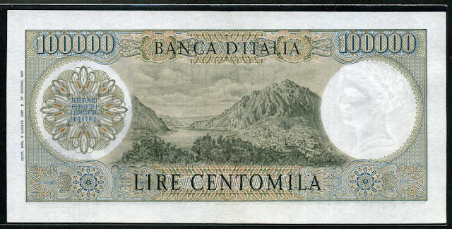 Italy money Currency 100000 lire banknote