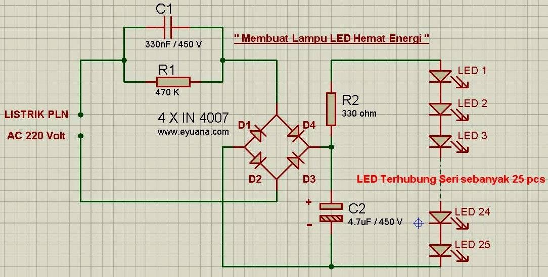 skema lampu led hemat energi tegangan 220 volt