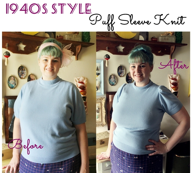 how to sew a 1940s puff sleeve knit top retro thrift refashion