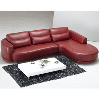 Tosh Furniture Modern Red Leather Sectional Sofa