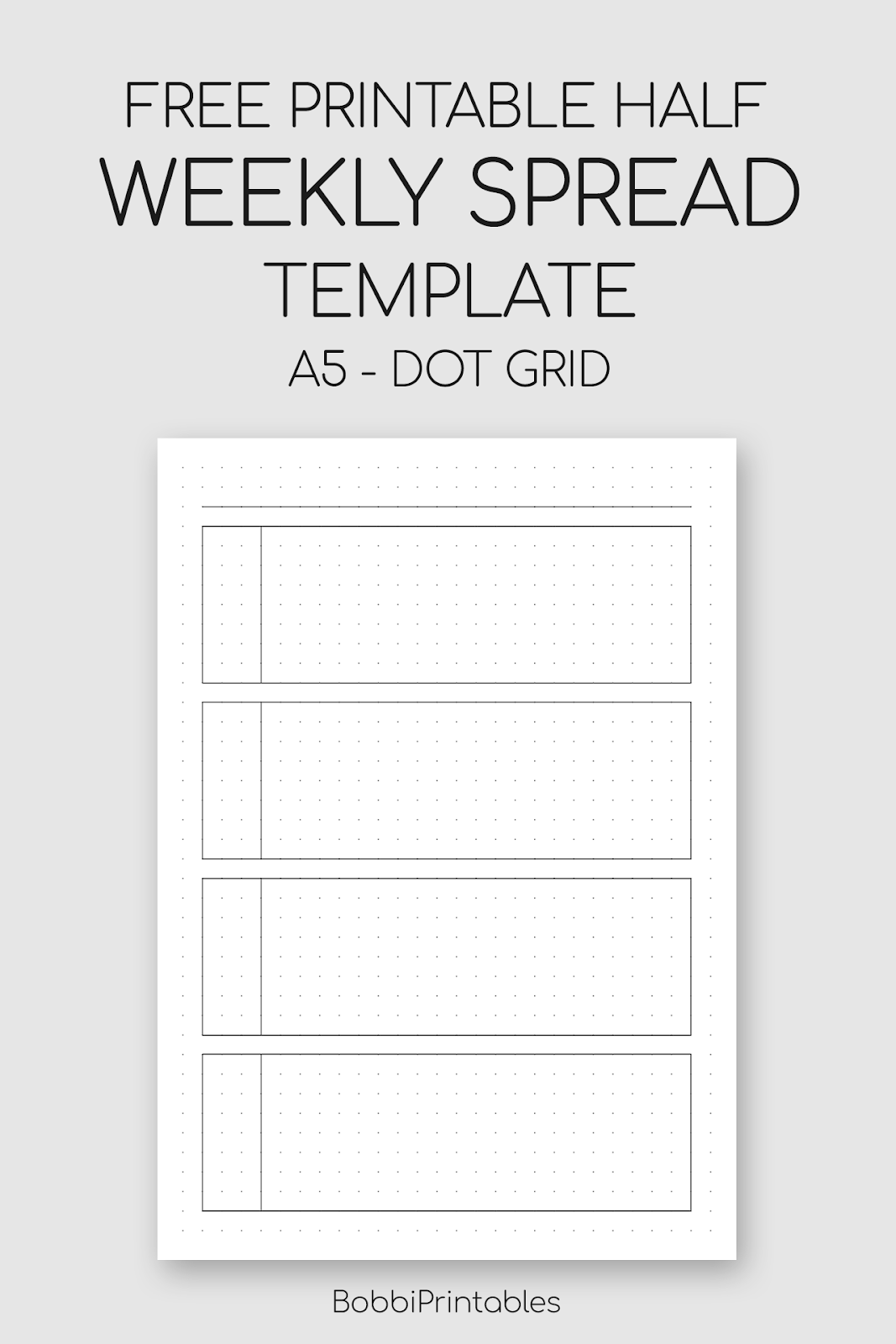 photo about A5 Dot Grid Printable titled Printable Weekly Distribute Template (50 % Unfold)