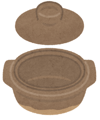 土鍋のイラスト(鍋と蓋)