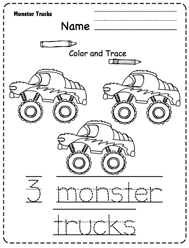 Monster Trucks Printable ~ Preschool Printables