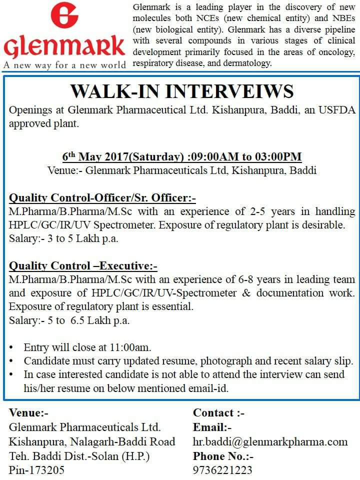 GLENMARK PHARMACEUTICAL LTD: WALK IN INTERVIEW ON 6th MAY 2017