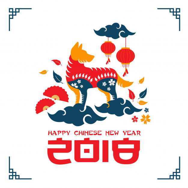 Creative Colorful Chinese New Year 2018 Dog Year Banner and Card Illustration Free Vector