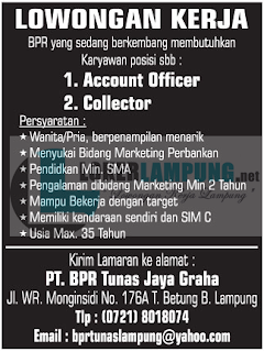 Bursa Kerja Lampung Terbaru Oktober 2016 di PT. BPR Tunas Graha Bandar Lampung