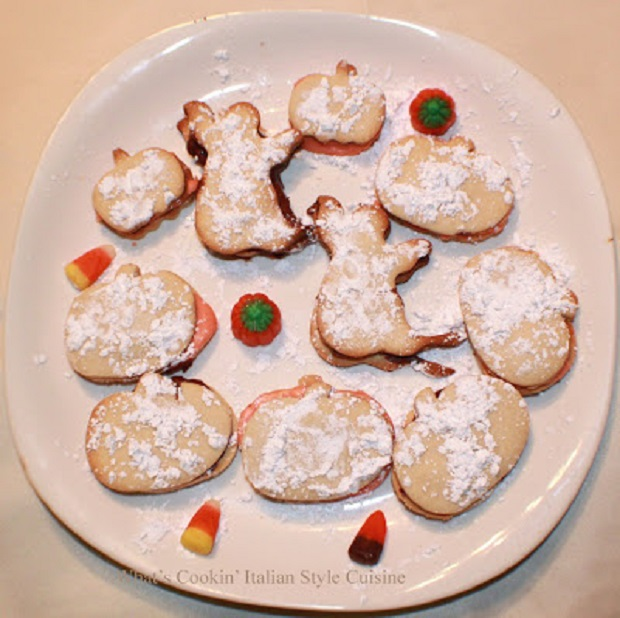 these are butter cookies cut into shapes for Halloween party fun