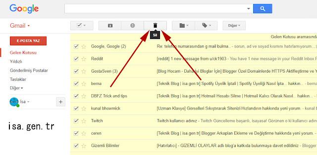gmail maillerinin tümünü silmek
