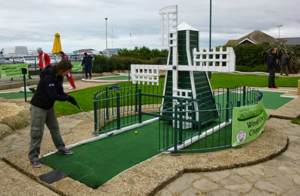 Emily Gottfried playing the Windmill hole at the 2014 World Crazy Golf Championships in Hastings