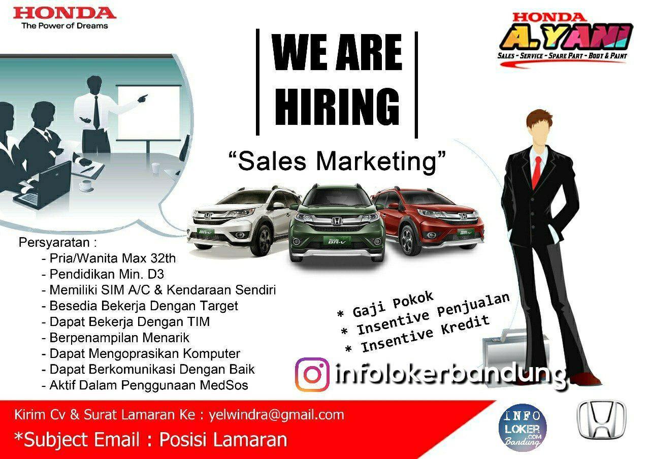 Lowongan Kerja Honda A.Yani  Bandung Sebagai Sales Marketing Juli 2018 - infolokerbandung.com