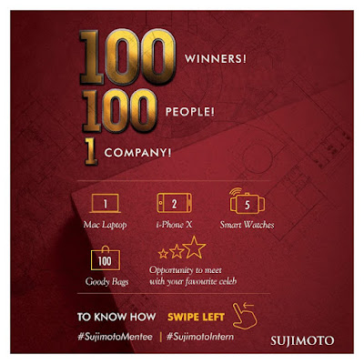 WIN a Brand New Laptop, 3 iPhone X and 5 Luxury Smart Watches in Sujimoto 1 Day Internship Event!