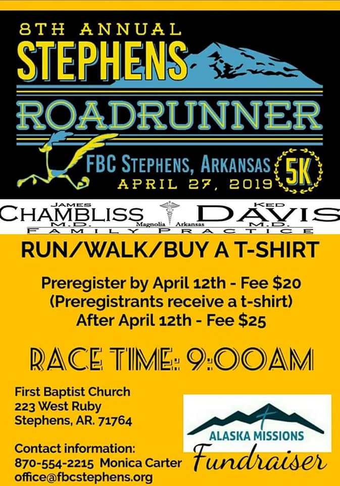 Annual Stephens, Arkansas Roadrunner 5k race set for April 27 - run or walk