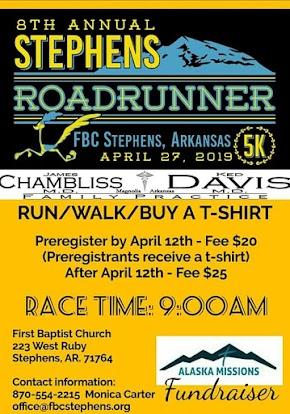 Annual Stephens, Arkansas Roadrunner 5k race set for April 27 - run or walk