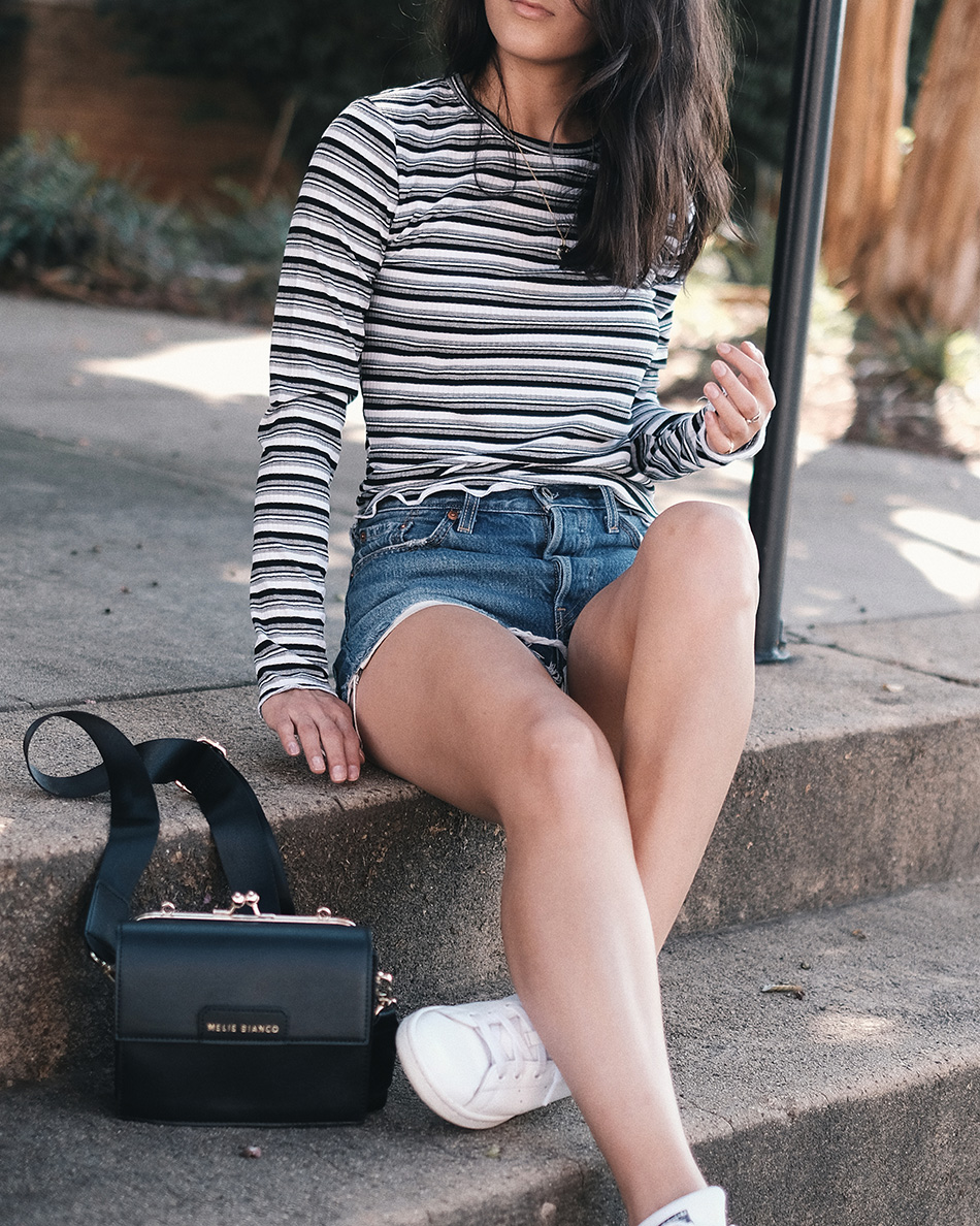 cute casual fall outfits, striped top casual fall outfit ideas