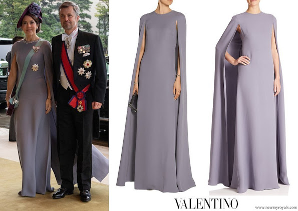 Crown Princess Mary wore Valentino Cape-Sleeve Silk Gown