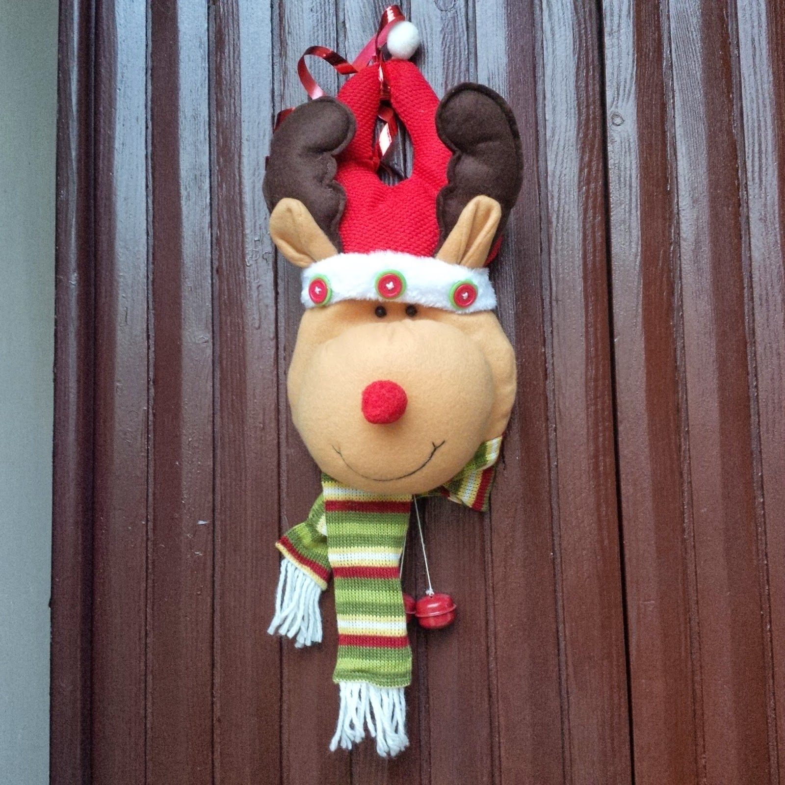 A smiling reindeer decorated our door at Christmas courtesy of our warm-hearted neighbour