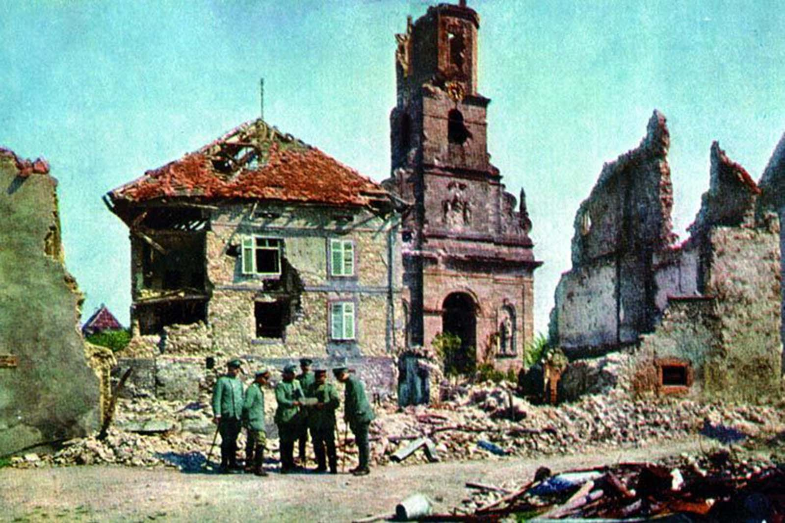 During World War I, images of destroyed churches were a persistent motif.