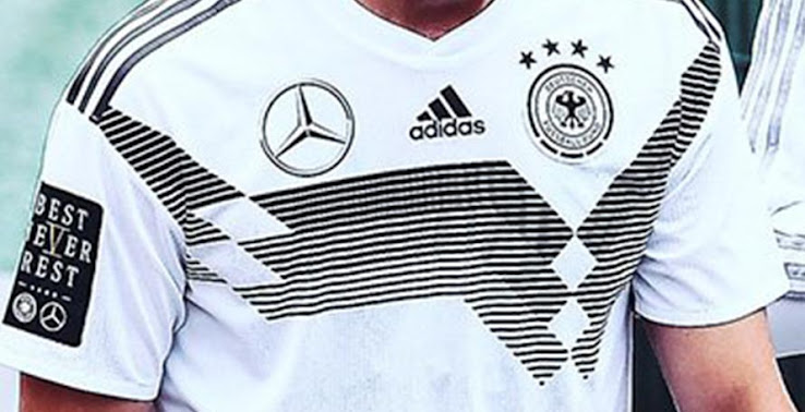 933ff7bd2 The right sleeve and the back of the jersey boast the logo of Mercedes  2018  World Cup campaign