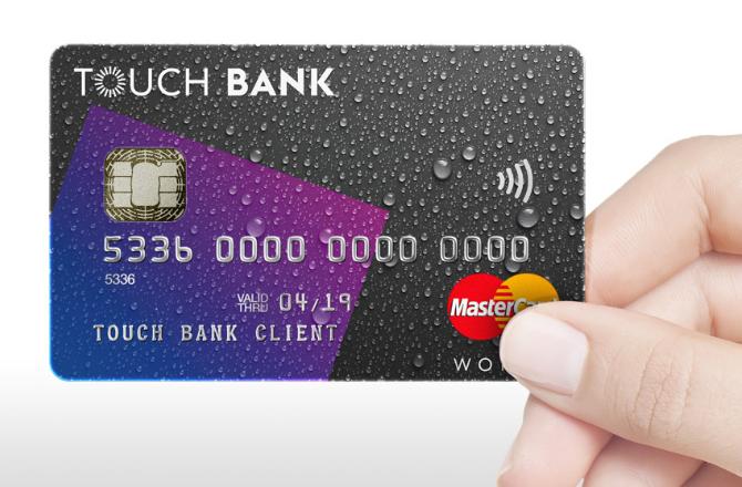 Туловище инвестора Тач банк Карта в одно касание от touch bank  Банковская карта