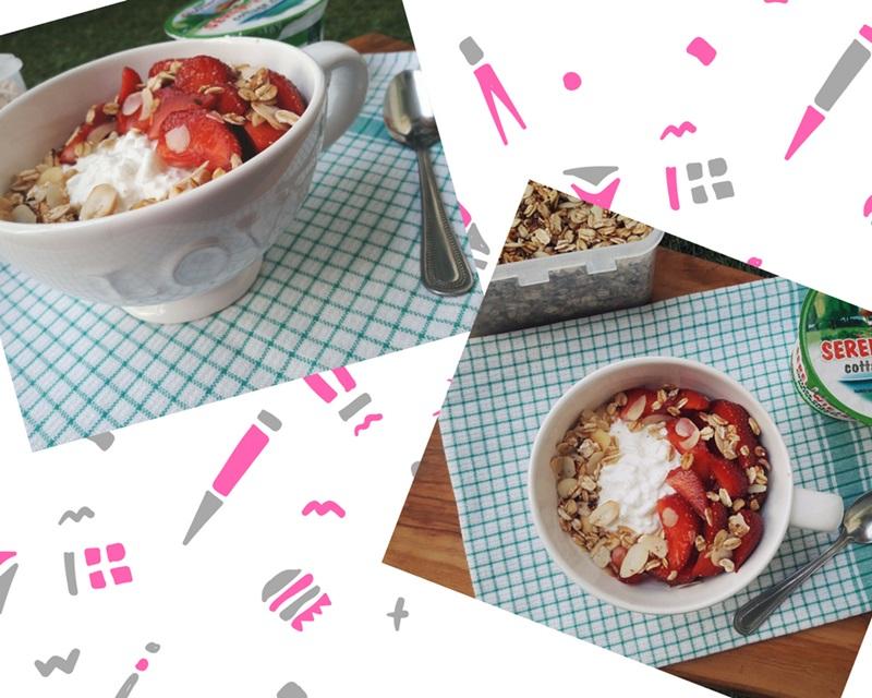 Serek wiejski z truskawkami - idealny na szybkie i letnie śniadanie do pracy