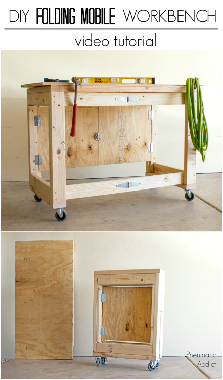 Learn how to make an easy folding mobile workbench from simple materials