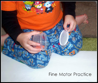 toddler activities using containers