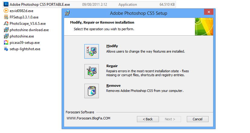 klik repair Photoshop