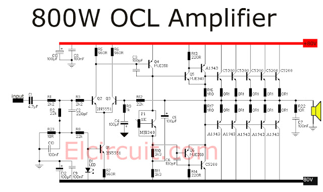 Rangkaian 800 Watt power amplifier OCL