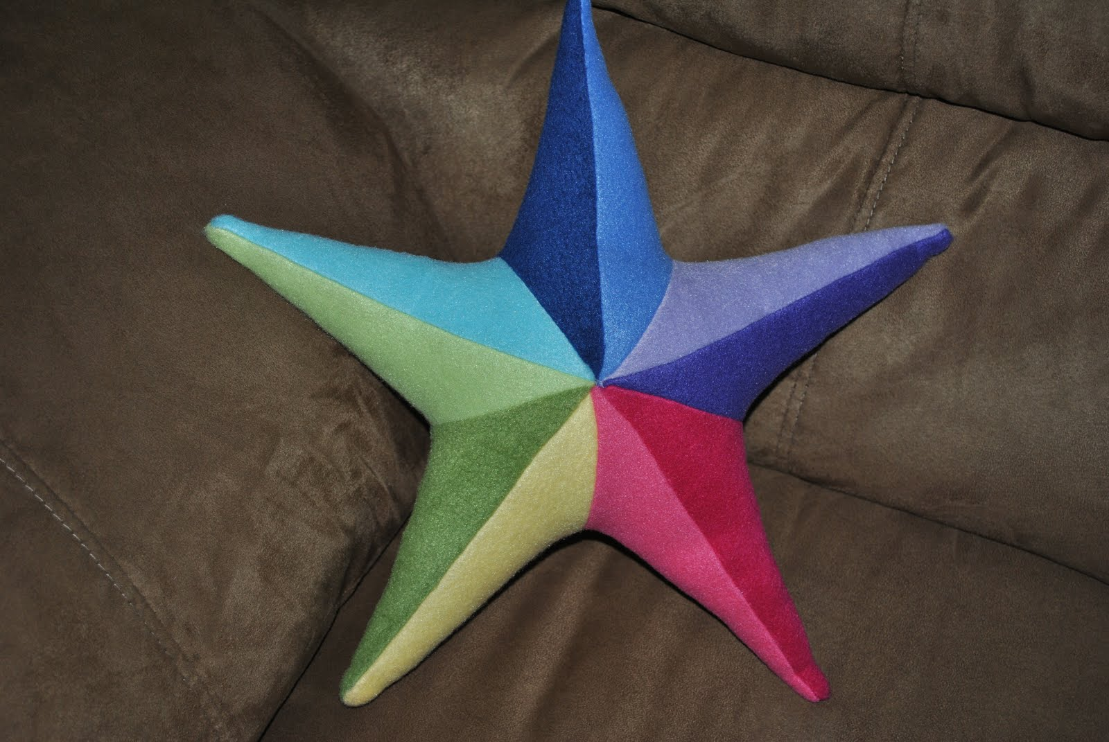 Stargazun Designs Fleece Stuffed Rainbow Star Pillow